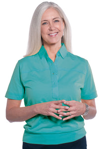 Banded Bottom Solid Polo</br>Bright Teal 20E - Leonlevin