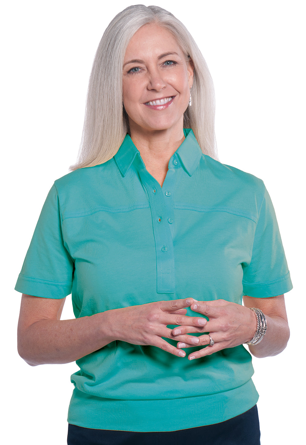 Banded Bottom Solid Polo</br> Paradise Green