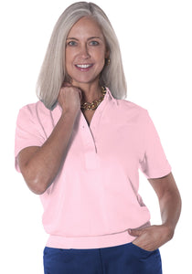 Banded Bottom Solid Polo</br>Carnation_753 - Leonlevin