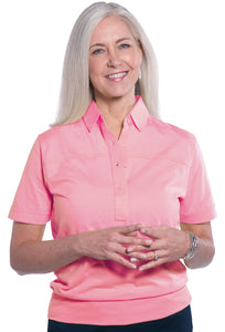 Banded Bottom Solid Polo</br>Coral Sand 28P - Leonlevin