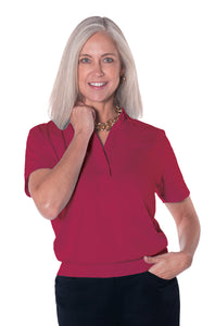 Banded Bottom Solid Polo</br>Crimson 30i - Leonlevin