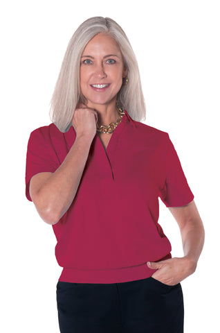 Banded Bottom Solid Polo | Crimson 30i - Leonlevin