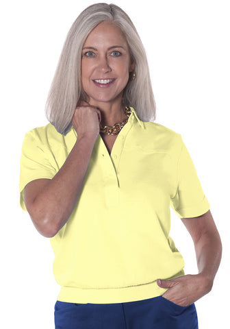Banded Bottom Solid Polo Lemonade 509 - Leonlevin
