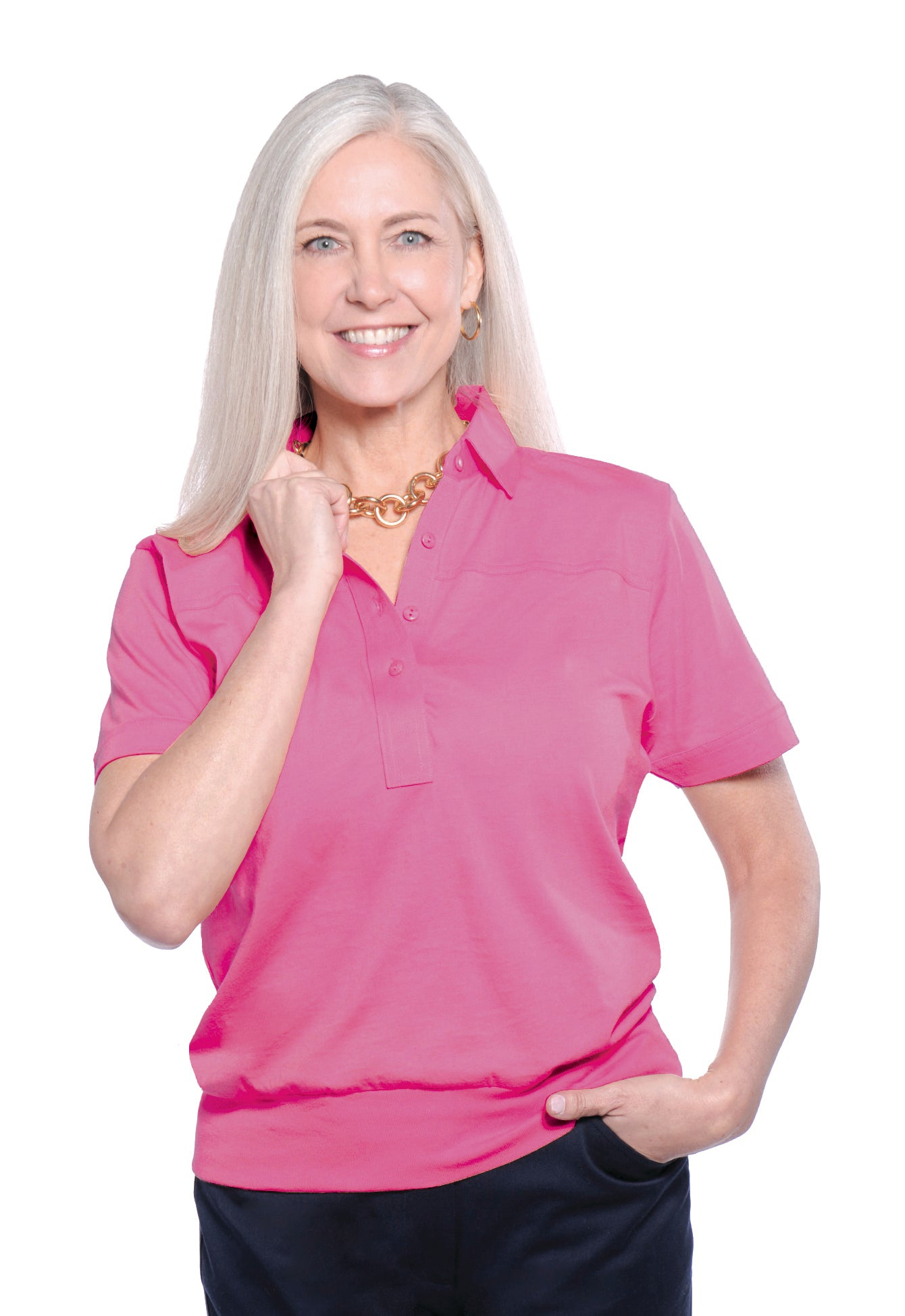 Banded Bottom Solid Polo</br>Rose 30F