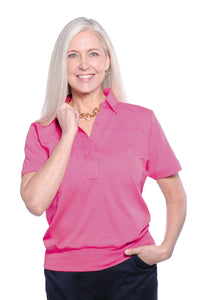 Banded Bottom Solid Polo</br>Rose 30F - Leonlevin