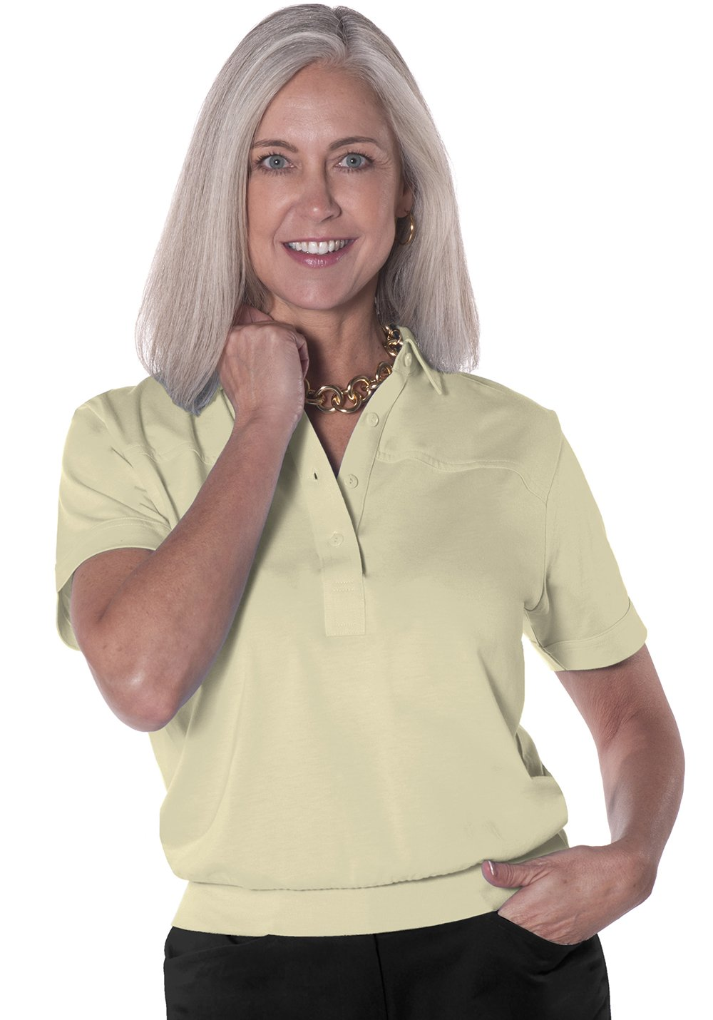 Banded Bottom Solid Polo | Sand S50 - Leonlevin