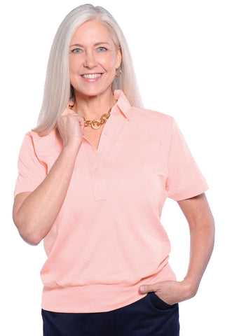 Banded Bottom Solid Polo | Sugared Peach 24P - Leonlevin