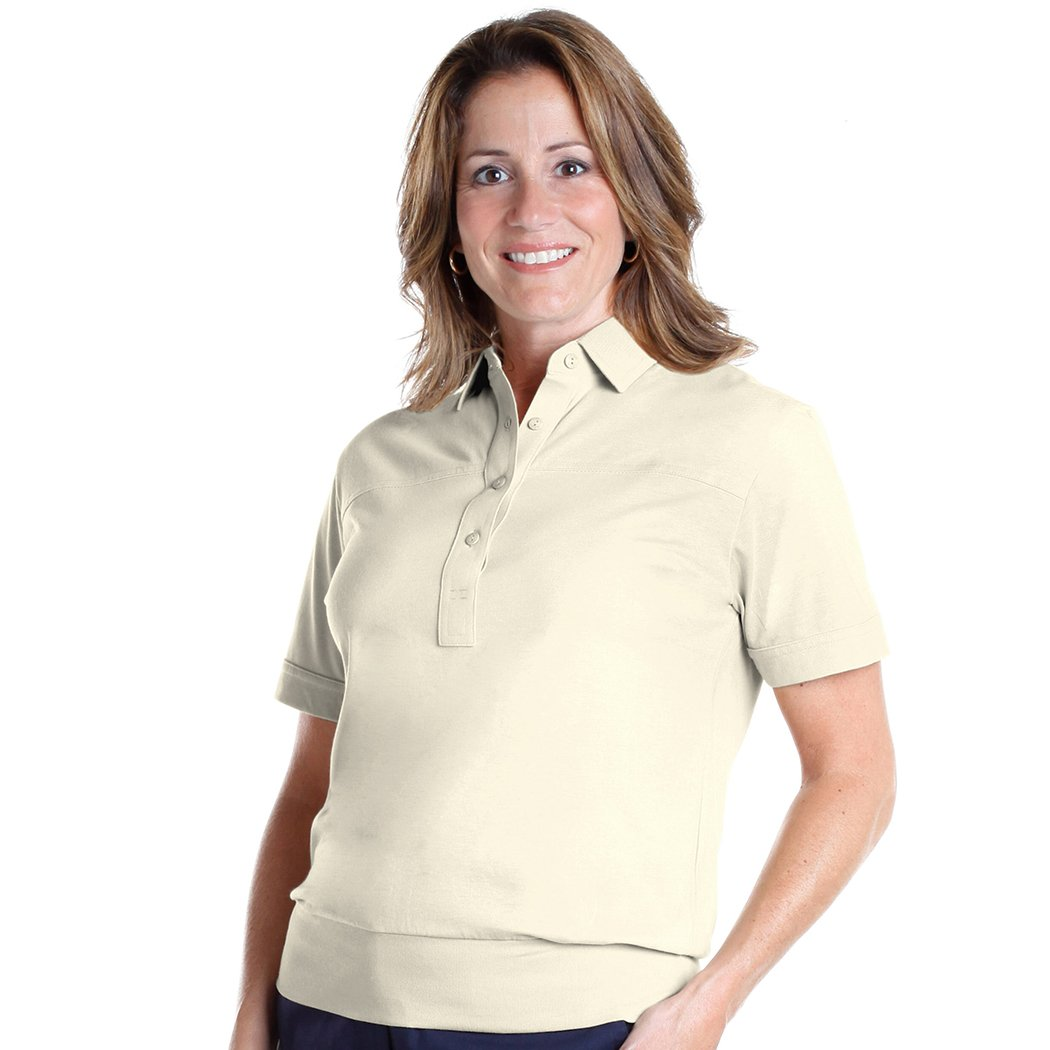 Banded Bottom Solid Polo</br>Cream_005