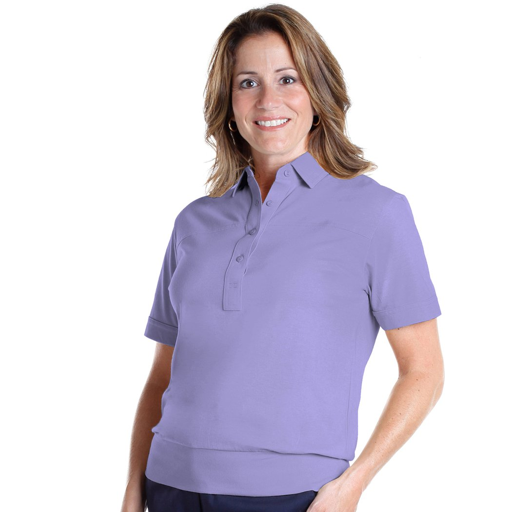 Banded Bottom Solid Polo</br>Pansy 758