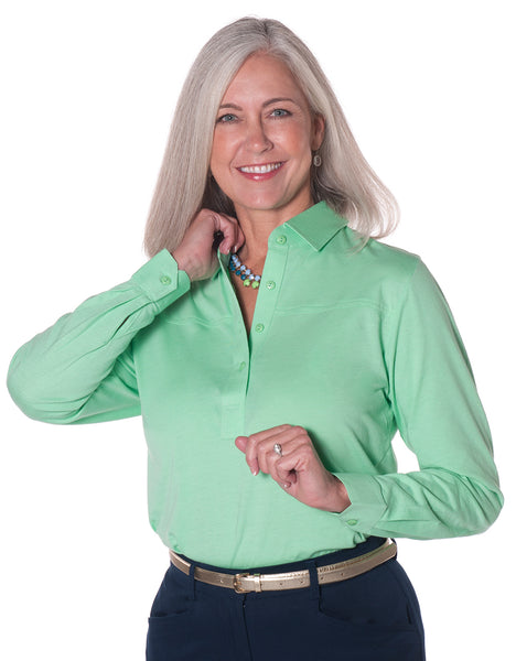 Long Sleeve Solid Polo</br>Jade 20F - Leonlevin