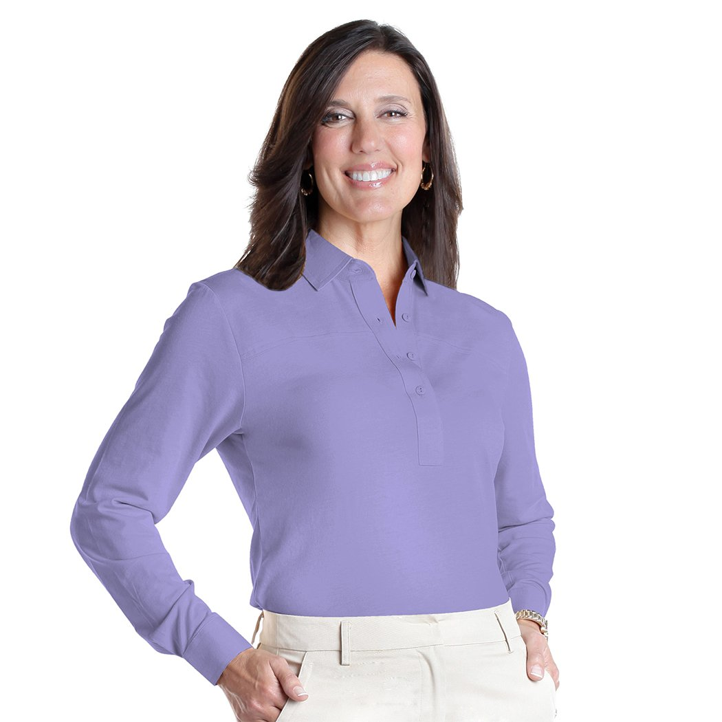 Petite Long Sleeve Polo Shirt | Pansy 758 - Leonlevin
