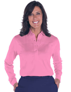 Long Sleeve Solid Polo Shirt | Bermuda Pink 264 - Leonlevin