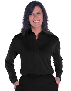 Long Sleeve Solid Polo |  Black  090 - Leonlevin