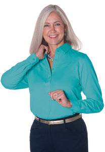 Long Sleeve Solid Polo <br> Bright Teal 20E - Leonlevin