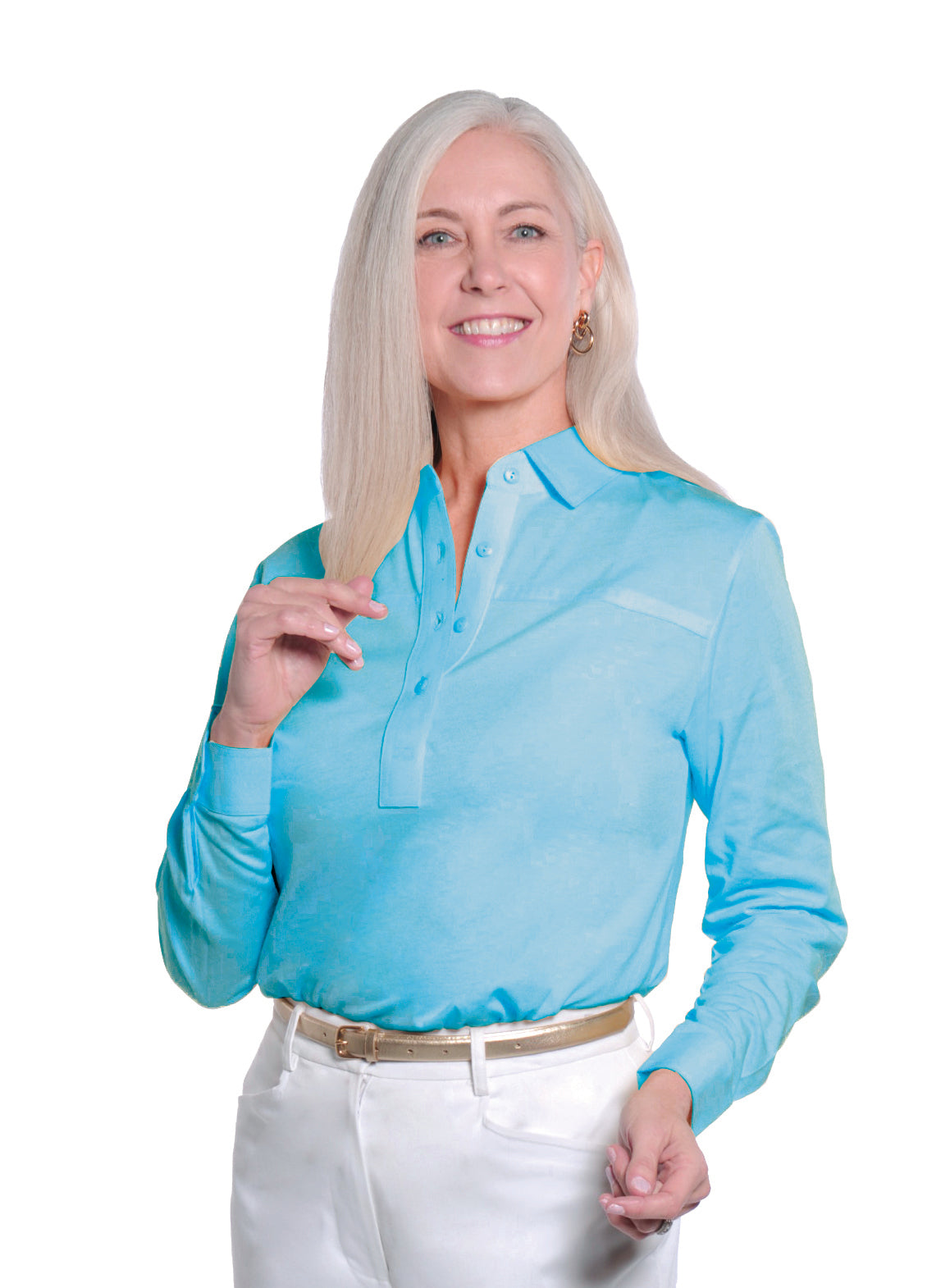 Petite Long Sleeve Polo Shirt</br>Cozumel 29P