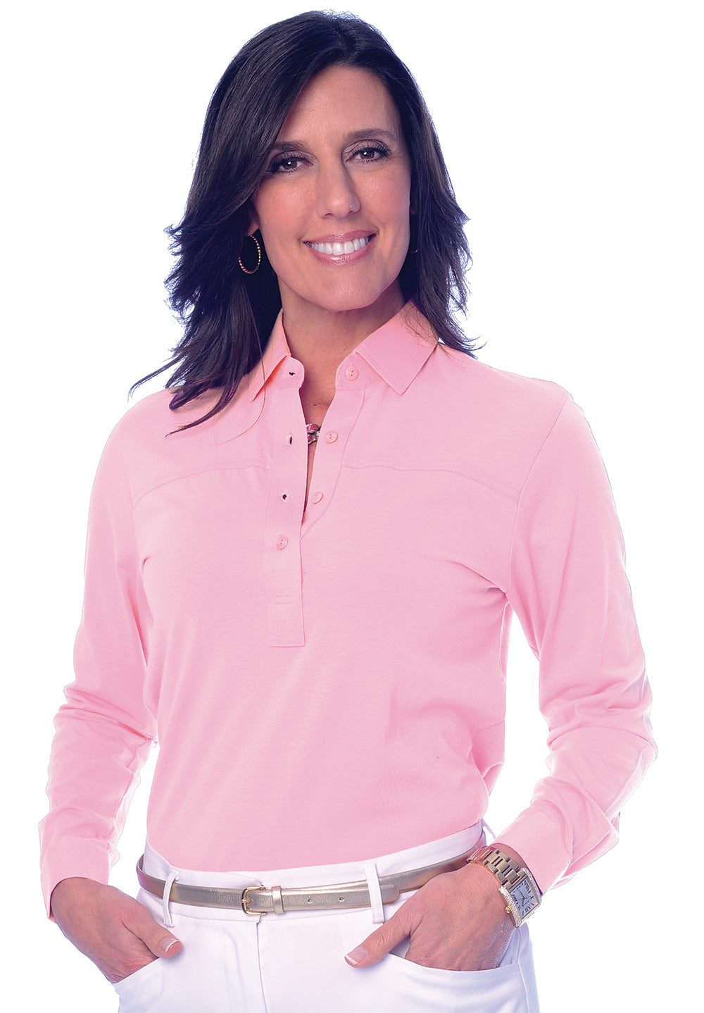 Long Sleeve Solid Polo</br>Daiquiri 26P