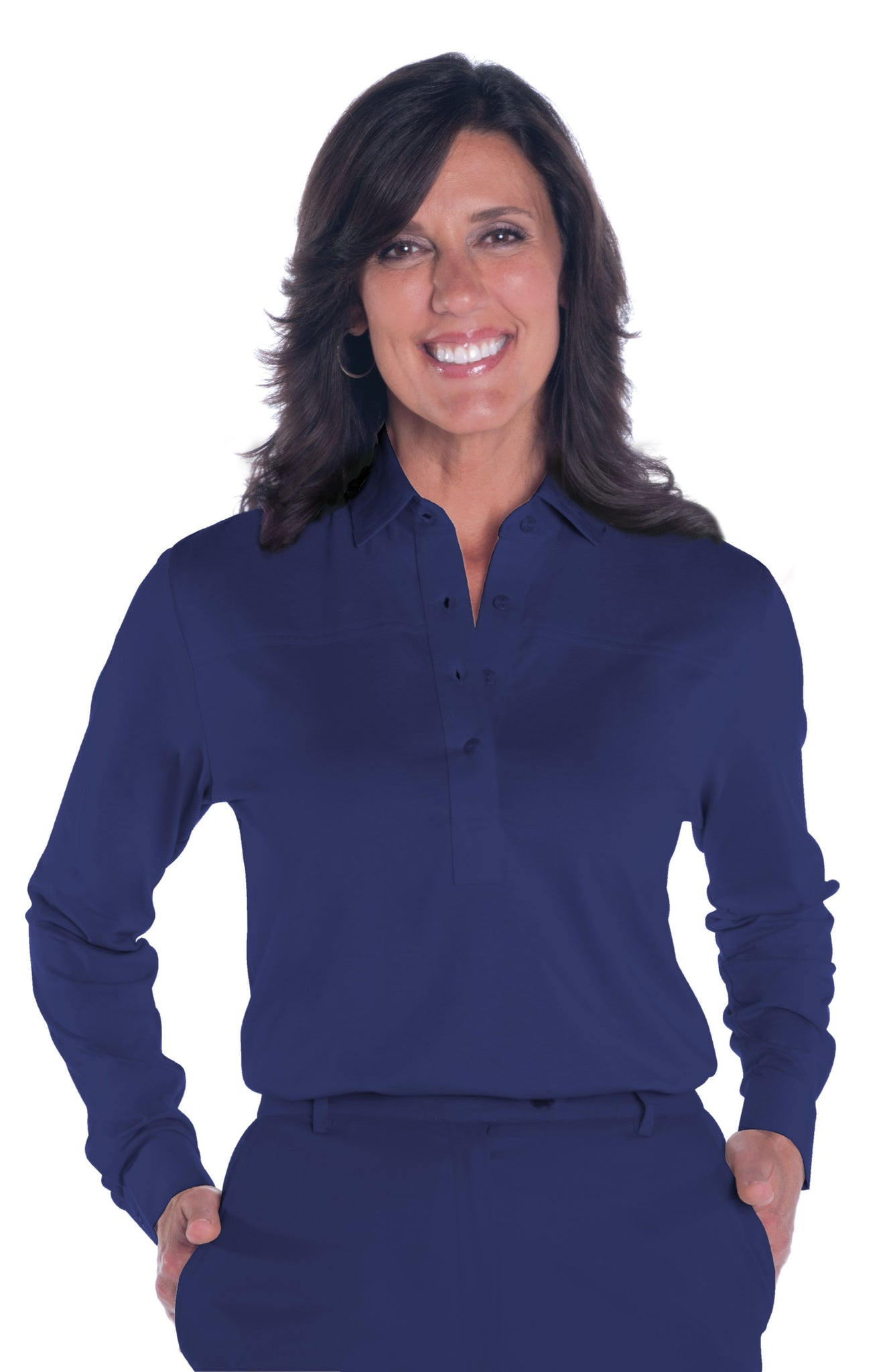 Petite Long Sleeve Solid Polo | Ink E76