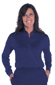 Petite Long Sleeve Solid Polo | Ink E76 - Leonlevin
