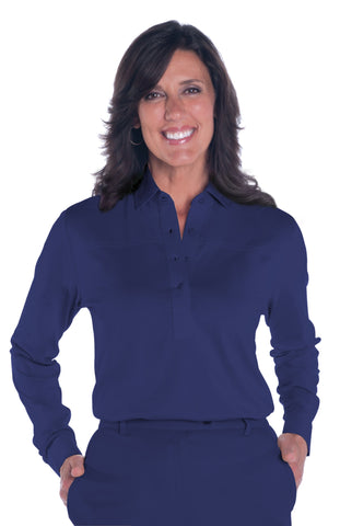 Long Sleeve Solid Polo | Ink E76 - Leonlevin