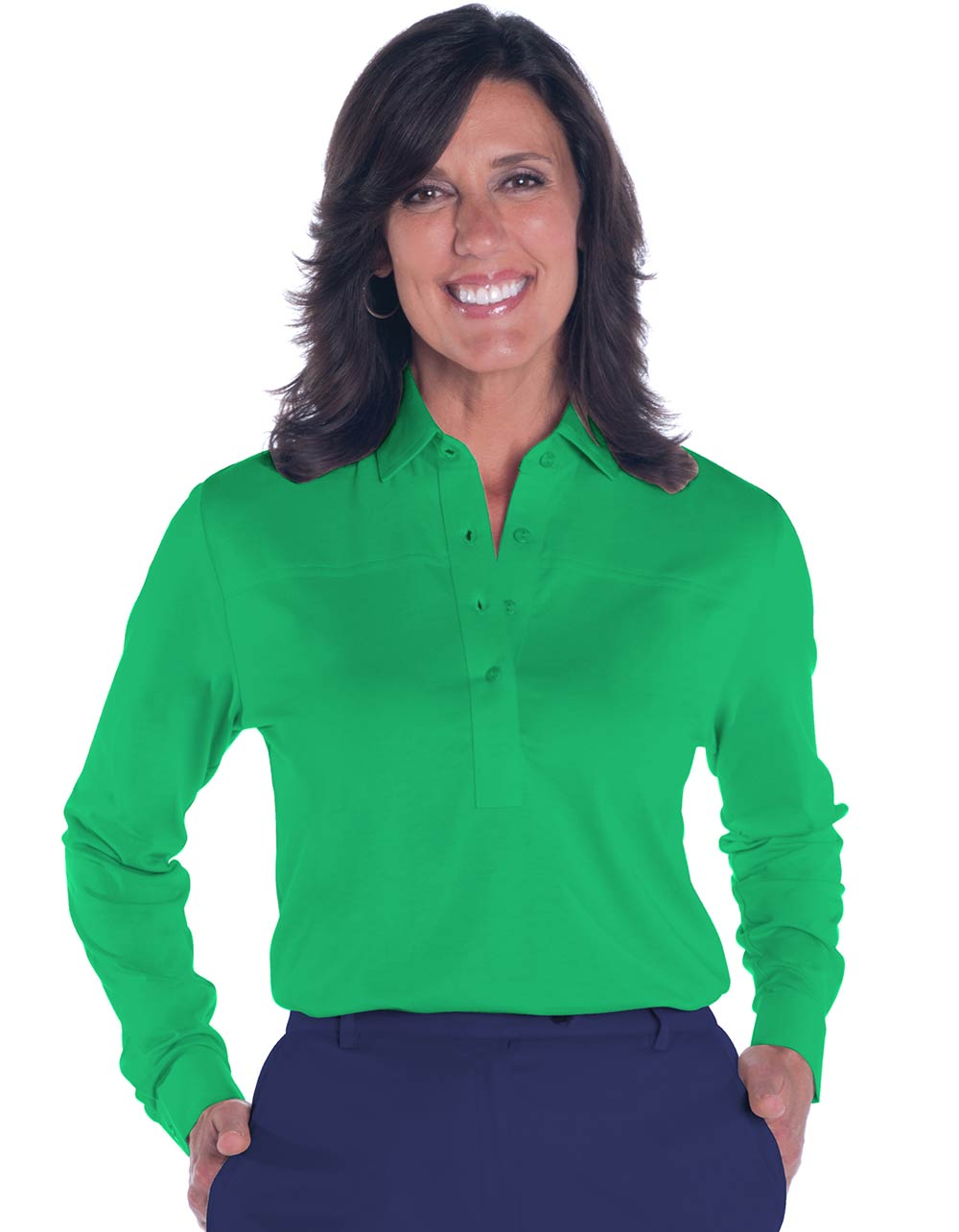 Petite Long Sleeve Solid Polo Shirt</br>Paradise Green 265 - Leonlevin