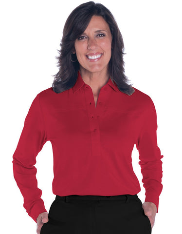 Long Sleeve Solid Polo <br> Red 040