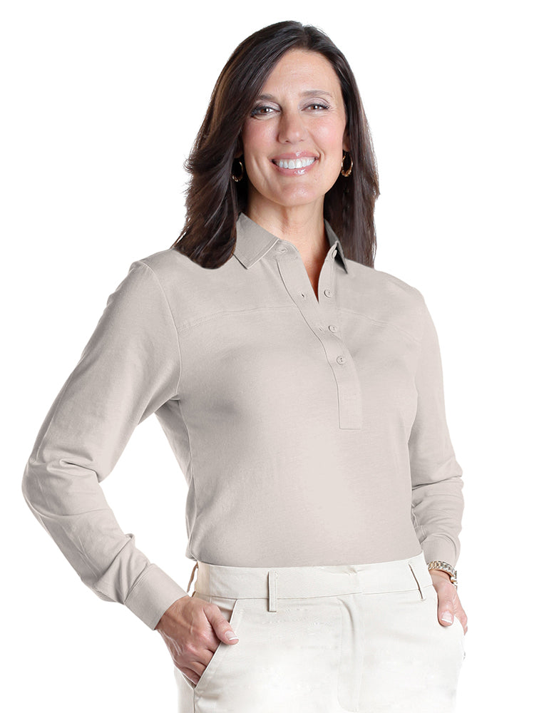 Petite Long Sleeve Polo Shirt | Sand S50