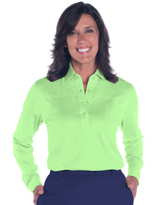 Petite Long Sleeve Solid Polo | Spearmint 751 - Leonlevin