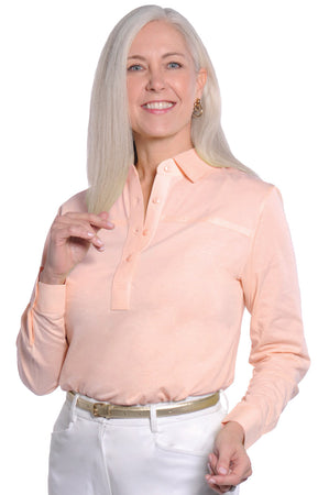 Long Sleeve Solid Polo</br>Sugared Peach 24P