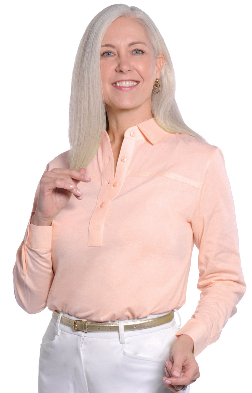 Petite Long Sleeve Polo Shirt | Sugared Peach 24P - Leonlevin