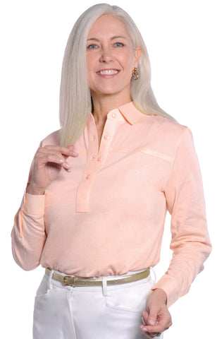 Long Sleeve Solid Polo | Sugared Peach 24P - Leonlevin