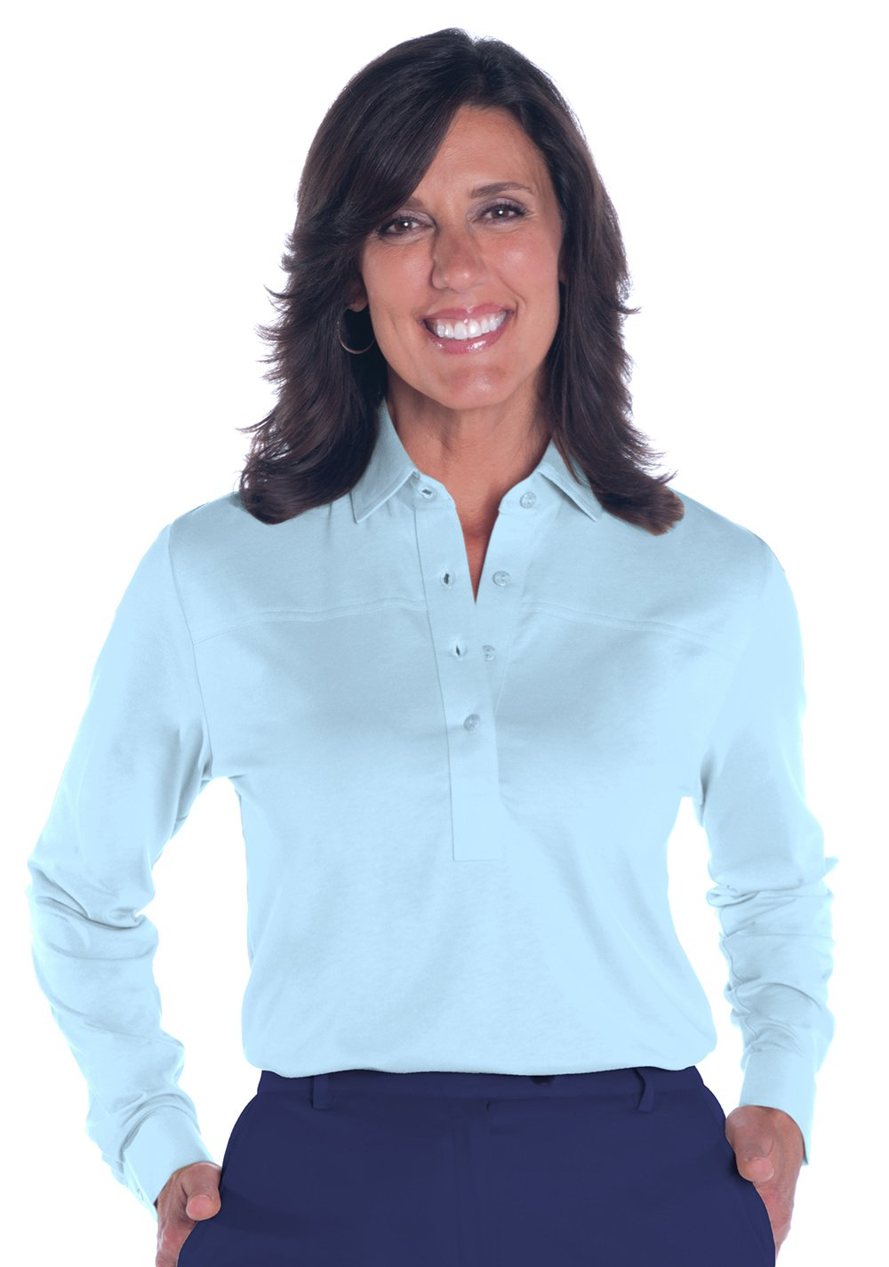 Long Sleeve Solid Polo</br>Wedgewood  20P