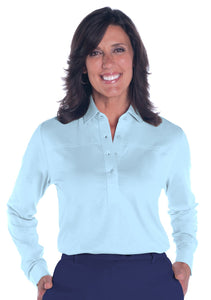 Long Sleeve Solid Polo</br>Wedgewood  20P - Leonlevin