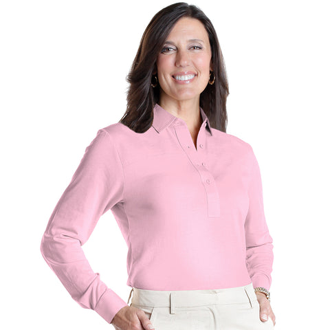 Long Sleeve Solid Polo | Carnation 753 - Leonlevin