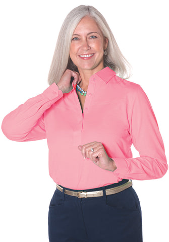Long Sleeve Solid Polo </br> Coral Sands 28P - Leonlevin