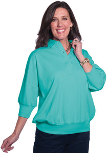 One Size Fits All Solid Polo Turquoise 25P - Leonlevin