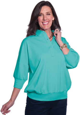 One Size Fits All Solid Polo Turquoise 25P