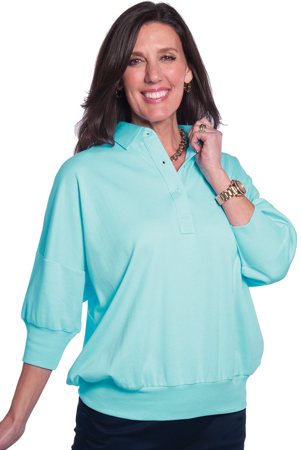 One Size Fits All Solid Polo Seaspray 21P - Leonlevin