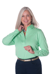 Petite Long Sleeve Polo Shirt | Jade 20F
