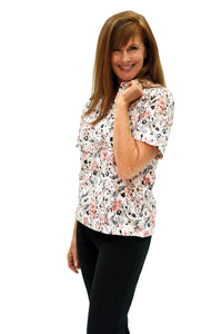 Ladies Short Sleeve Print Polo Shirt | Flower Show 26A | Ships August 20 - Leonlevin