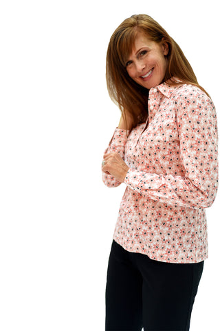 Ladies Long Sleeve Print Polo Shirt | Fresh as a Daisy 26B | Ships August 20 - Leonlevin