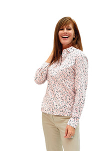Ladies Long Sleeve Print Polo Shirt | Crystal Light 26C | Ships August 20 - Leonlevin