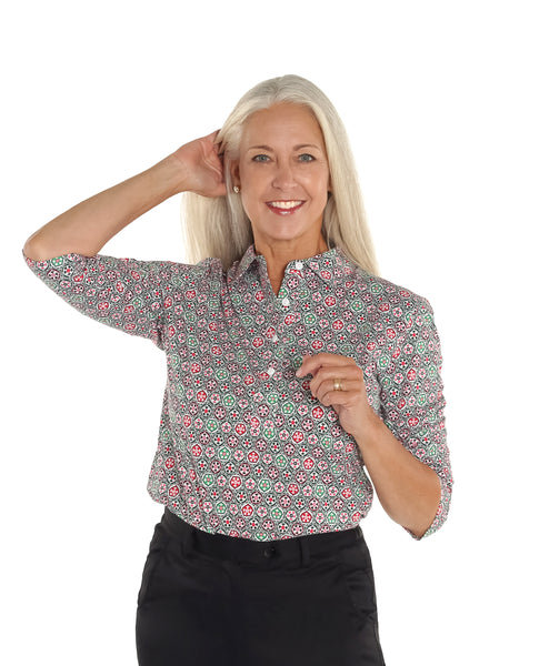 Three Quarter Sleeve Print Polo Shirt | Charming 28A