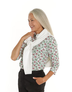 Three Quarter Sleeve Print Polo Shirt | Pretty Poinsettia 28E