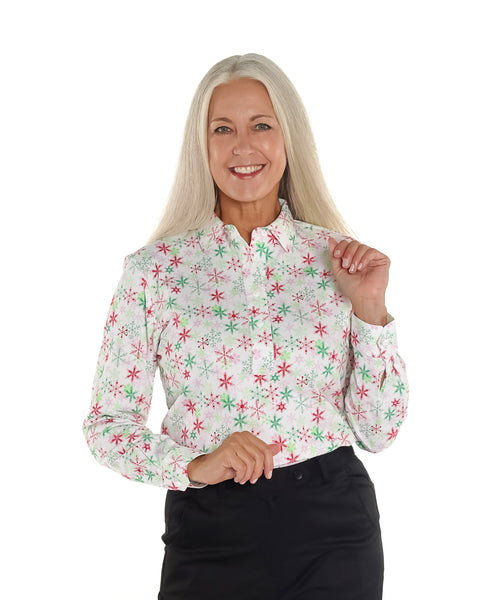 Petite Long Sleeve Print Polo Shirt | Winter Wonderland 28F