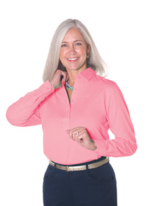 Petite Long Sleeve Polo Shirt | Coral Sand 28P