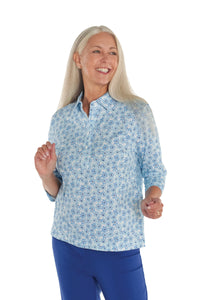Three Quarter Sleeve Print Polo Shirt | Fresh as a Daisy 29B
