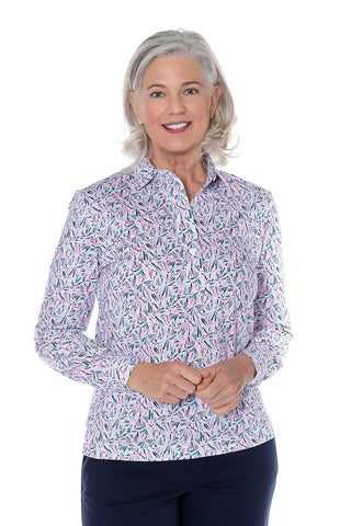 Long  Sleeve Print Polo Shirt | Crystal Light 30B