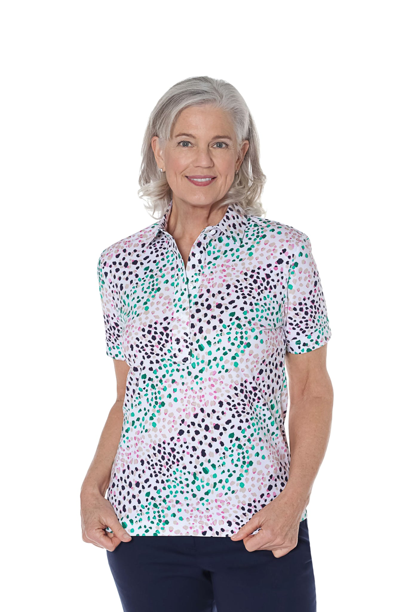Petite Short Sleeve Print Polo Shirt | Spot On 30E