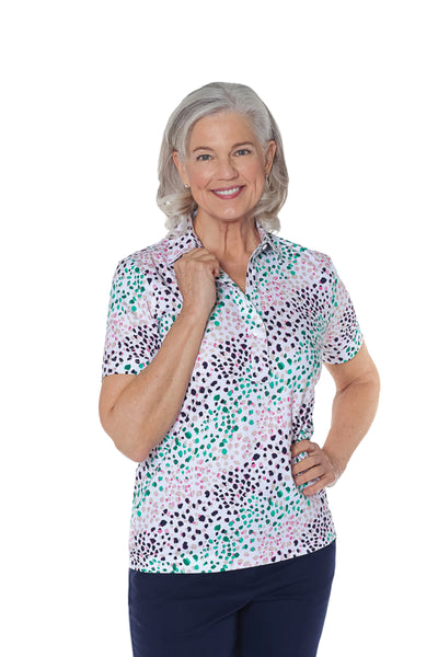 Short Sleeve Print Polo Shirt | Spot On 30E