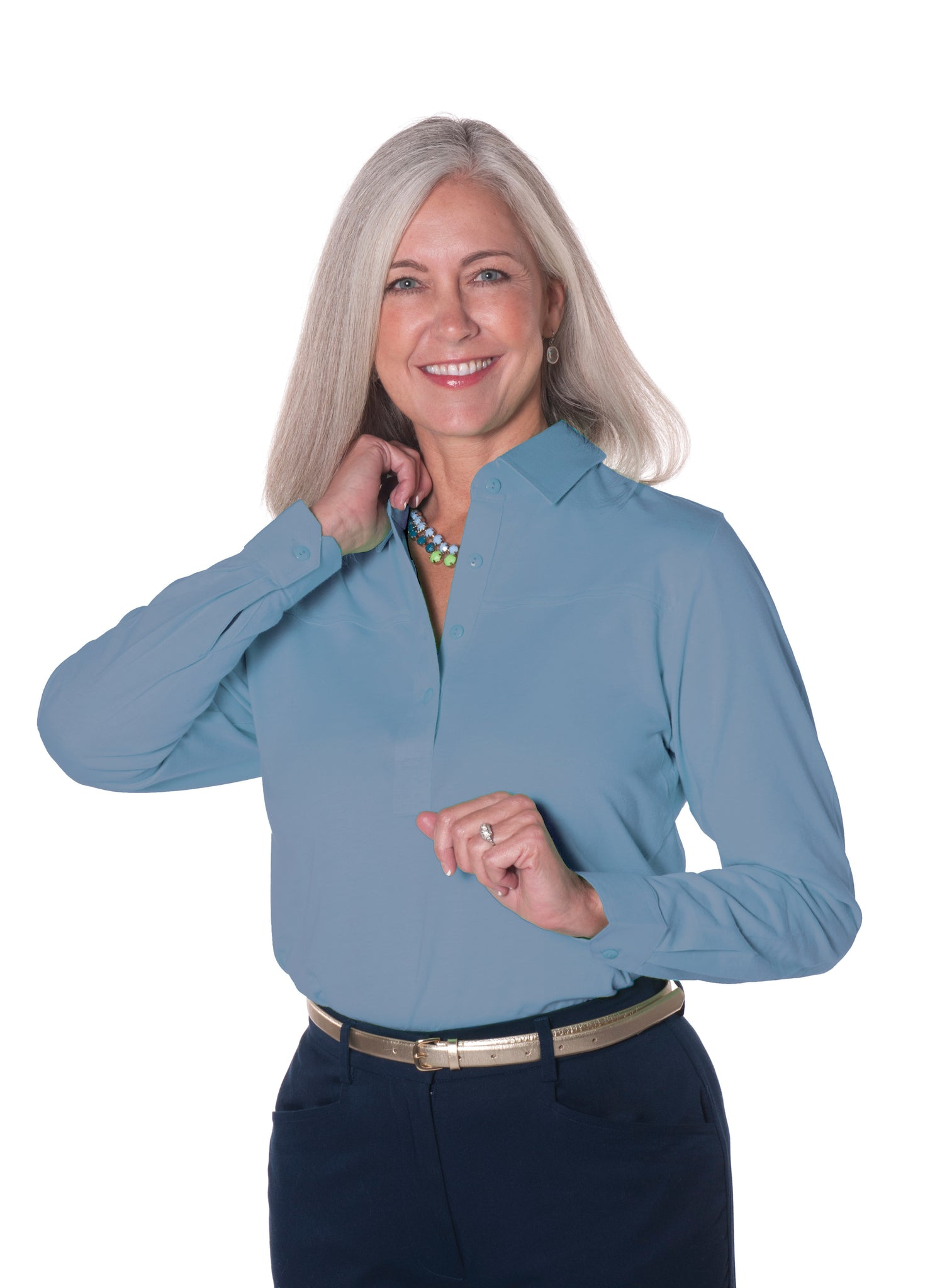 Petite Long Sleeve Polo Shirt | Niagra 32P